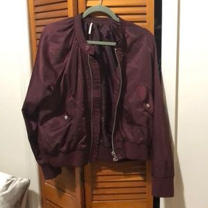 Free People maroon bomber jacket